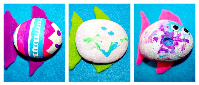 Fish painted rocks with felt fins painted by kids from Messy Little Monster
