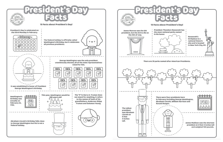 2 pages of printed pdf President's Day coloring pages with 15 fun president facts for kids to learn and create coloring art.