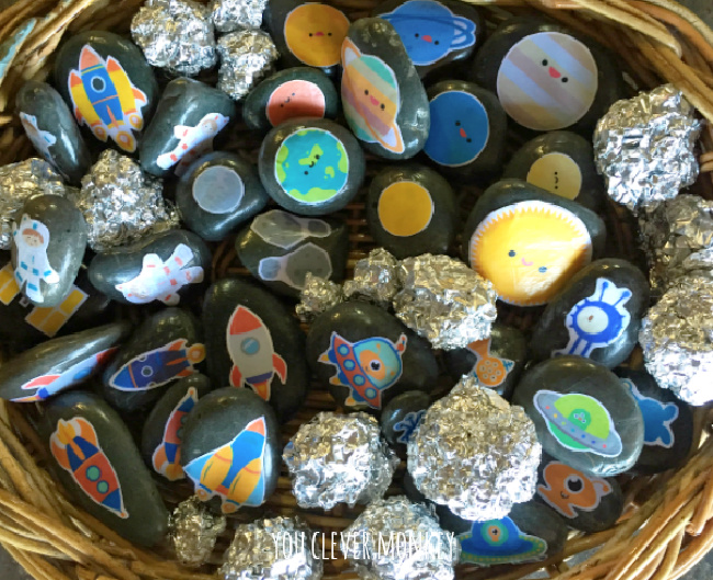 Painted space stones in a basket with space rocks from You Clever Monkey