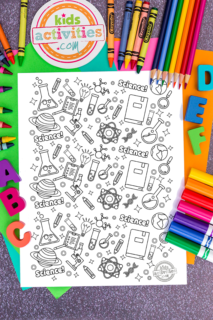Science Doodle Coloring Page