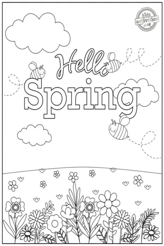 hello spring coloring pages