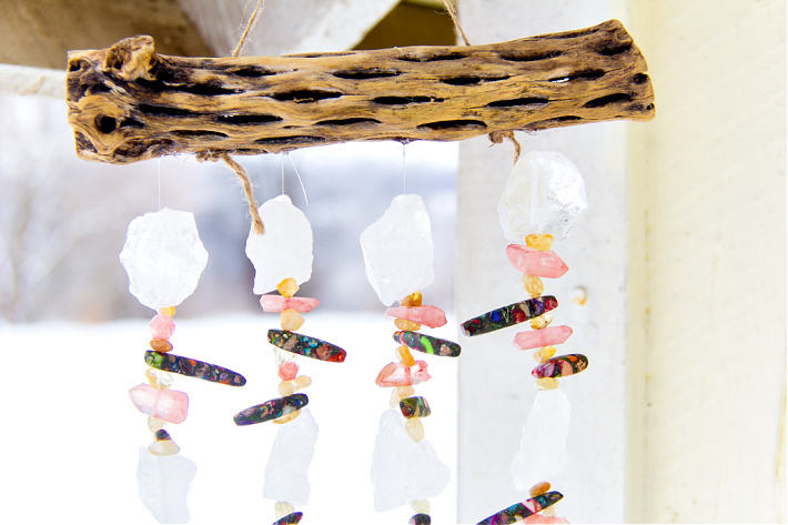 handmade wind chimes made from cholla wood and beads