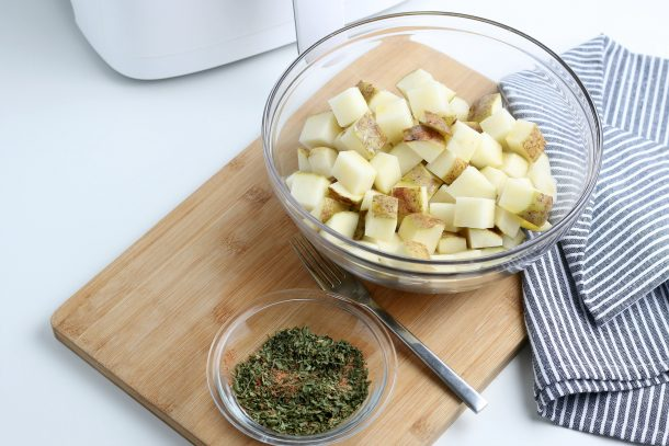 Air Fryer Diced Potatoes - Step mix spices