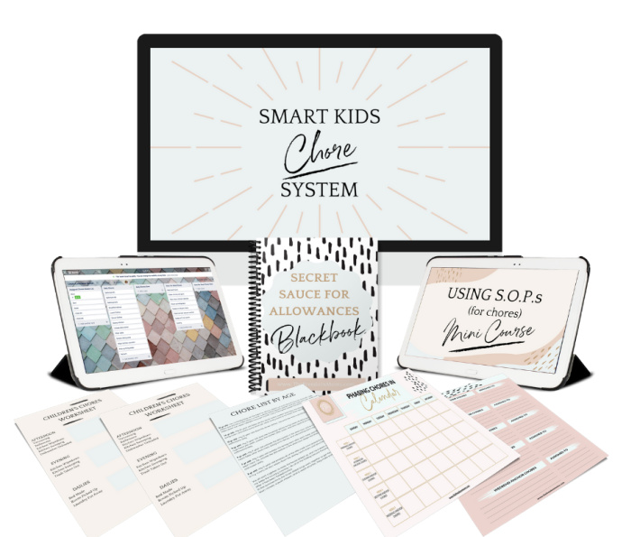 Best chore system for kids from Smart Kids Chore System by Ashley Buffa - shown is the entire package of things included in the system