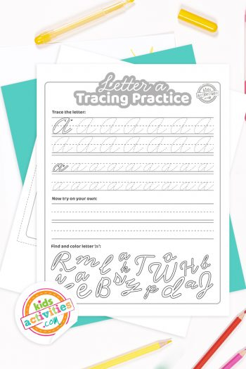 Printed pdf cursive handwriting practice worksheets for letter a with colored pencils