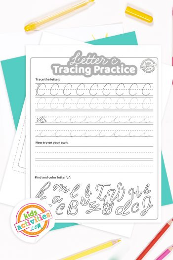 Printed pdf cursive handwriting practice worksheets for letter c with colored pencils