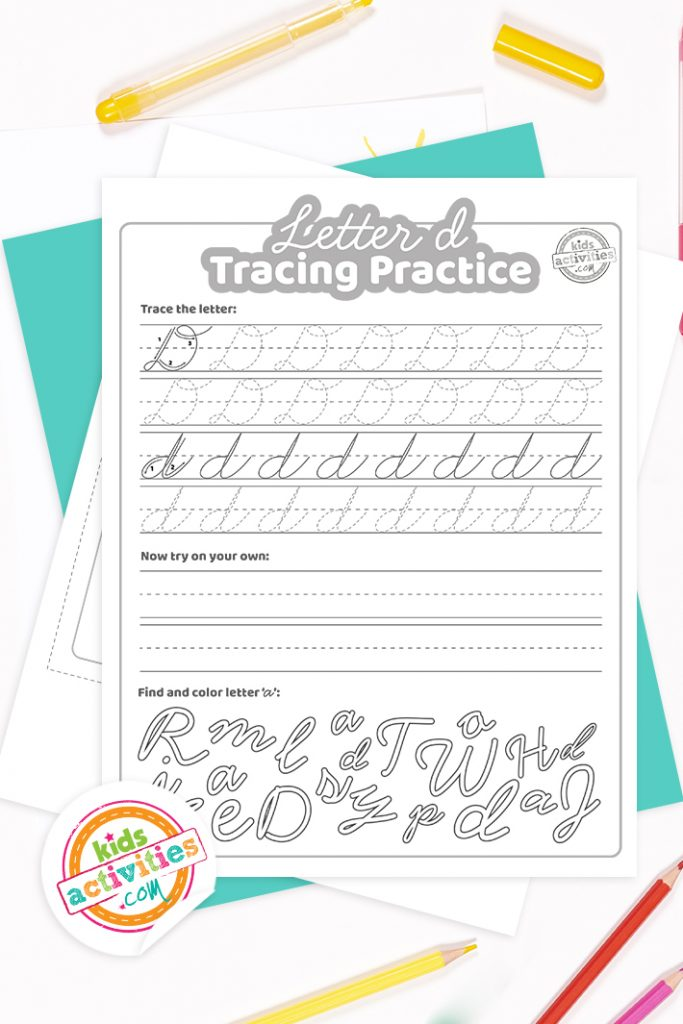 Printed pdf cursive handwriting practice worksheets for letter d with colored pencils