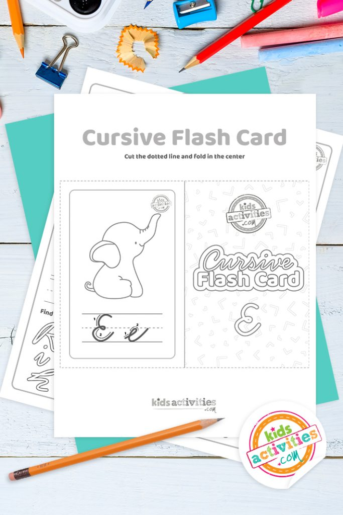 Printable cursive flashcard and writing practice for letter e pdf with pencil