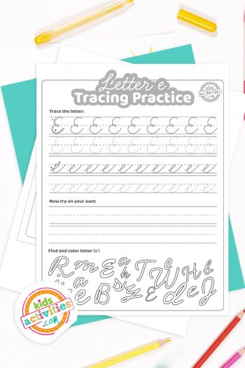 Printed pdf cursive handwriting practice worksheets for letter e with colored pencils