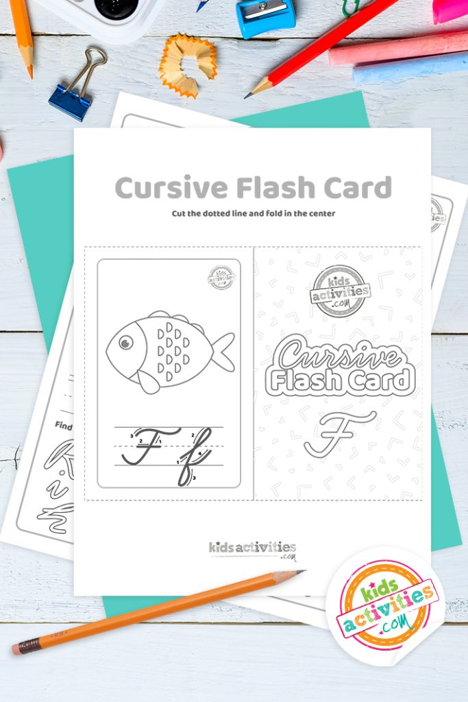 Printable cursive flashcard and writing practice for letter f pdf with pencil