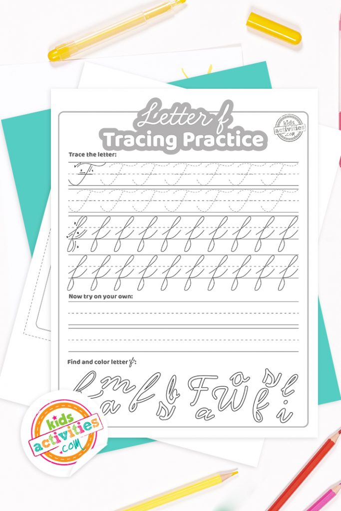 Printed pdf cursive handwriting practice worksheets for letter f with colored pencils