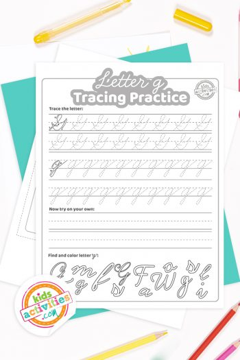Printed pdf cursive handwriting practice worksheets for letter g with colored pencils