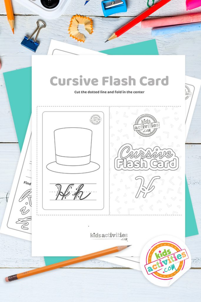 Printable cursive flashcard and writing practice for letter h pdf with pencil