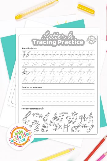 Printed pdf cursive handwriting practice worksheets for letter h with colored pencils