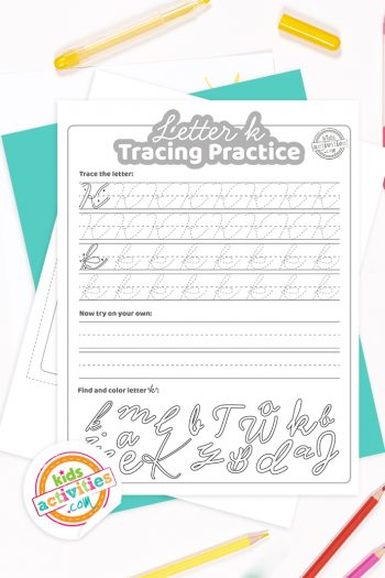 Printed pdf cursive handwriting practice worksheets for letter k with colored pencils