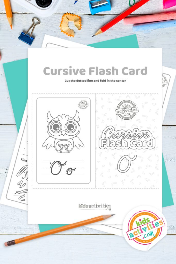 Printable cursive flashcard and writing practice for letter o pdf with pencil