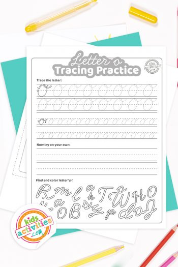 Printed pdf cursive handwriting practice worksheets for letter o with colored pencils
