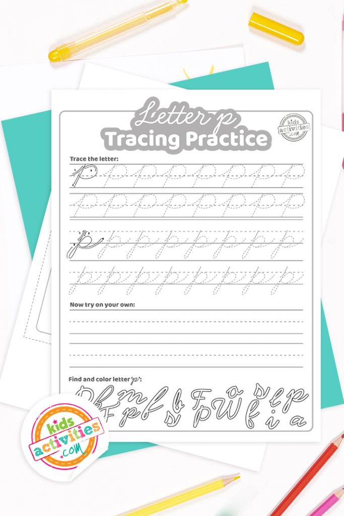 Printed pdf cursive handwriting practice worksheets for letter p with colored pencils