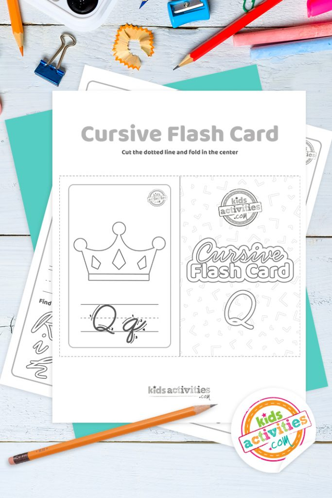 Printable cursive flashcard and writing practice for letter q pdf with pencil