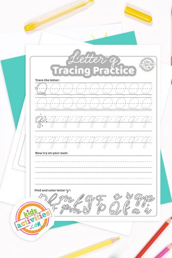 Printed pdf cursive handwriting practice worksheets for letter q with colored pencils