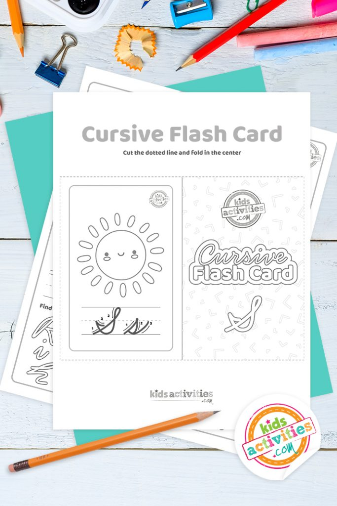 Printable cursive flashcard and writing practice for letter s pdf with pencil