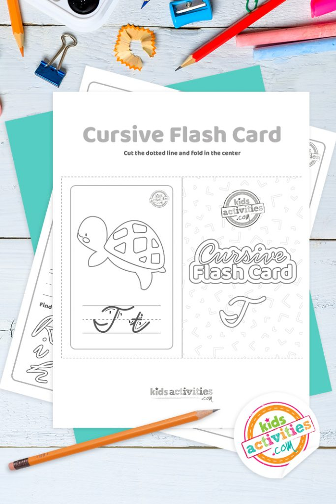 Printable cursive flashcard and writing practice for letter t pdf with pencil