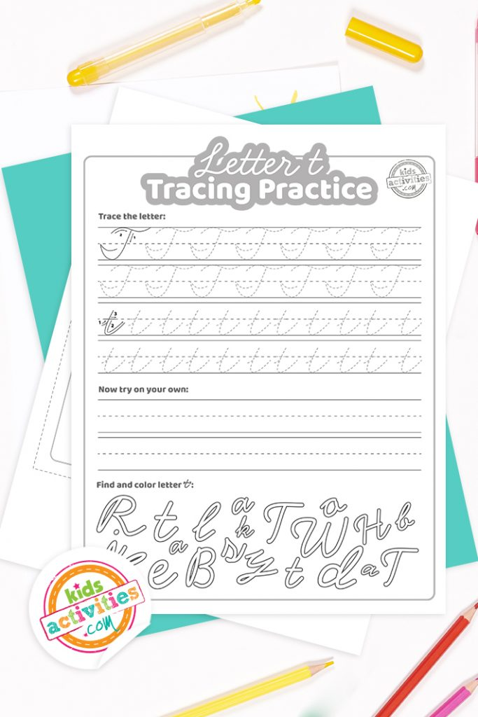 Printed pdf cursive handwriting practice worksheets for letter t with colored pencils