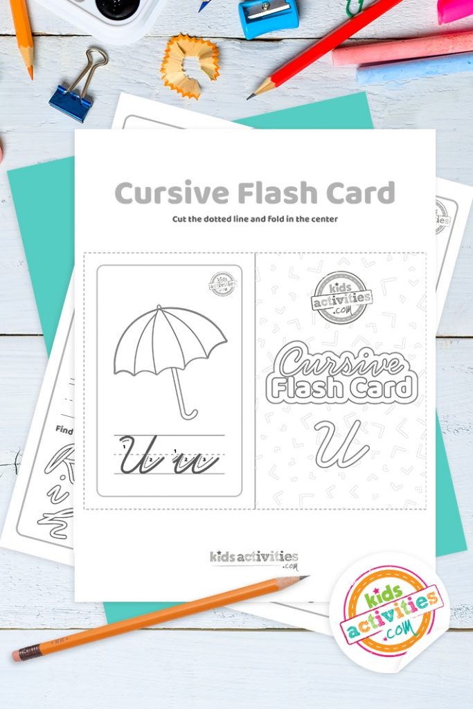 Printable cursive flashcard and writing practice for letter u pdf with pencil