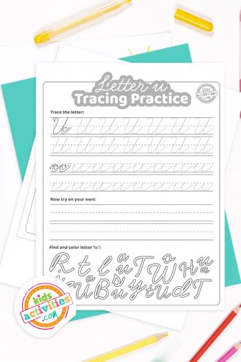 Printed pdf cursive handwriting practice worksheets for letter u with colored pencils