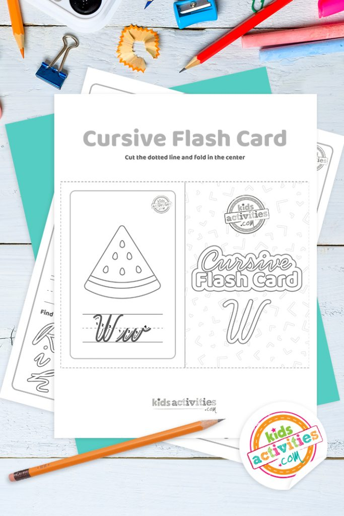 Printable cursive flashcard and writing practice for letter w pdf with pencil