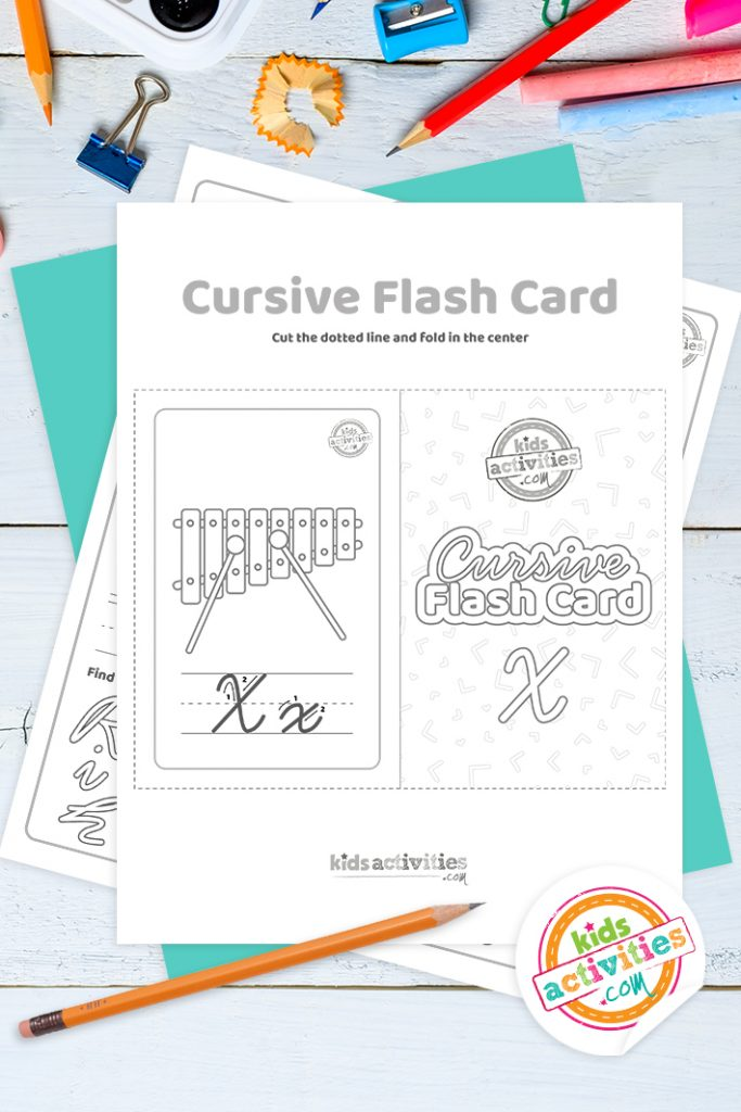 Printable cursive flashcard and writing practice for letter x pdf with pencil