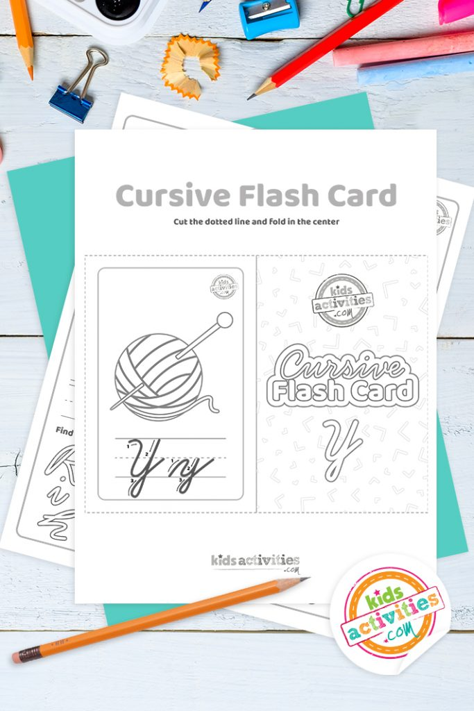Printable cursive flashcard and writing practice for letter y pdf with pencil