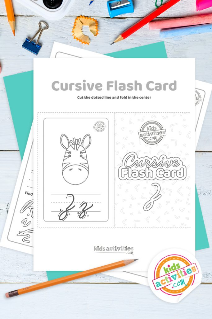 Printable cursive flashcard and writing practice for letter z pdf with pencil