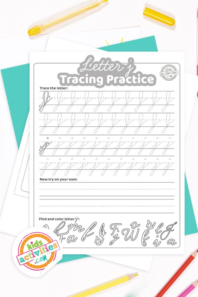 Printed pdf cursive handwriting practice worksheets for letter j with colored pencils