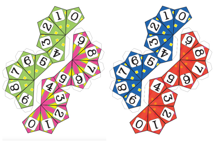 pdf versions of the 9 sided expanded form dice set shown in colors green, pink, blue and red