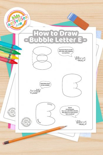 How to draw a Bubble Letter E printable tutorial pdf shown with crayons, pencil and eraser - Kids Activities Blog