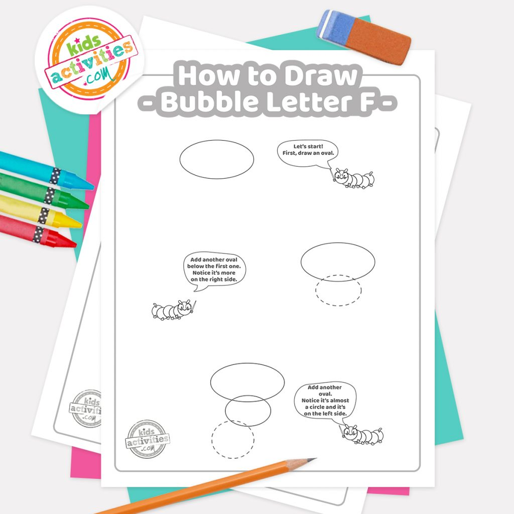 How to draw graffiti Bubble letter F pdf page one with steps 1-3 next to eraser, pencil and colored pencils - Kids Activities Blog