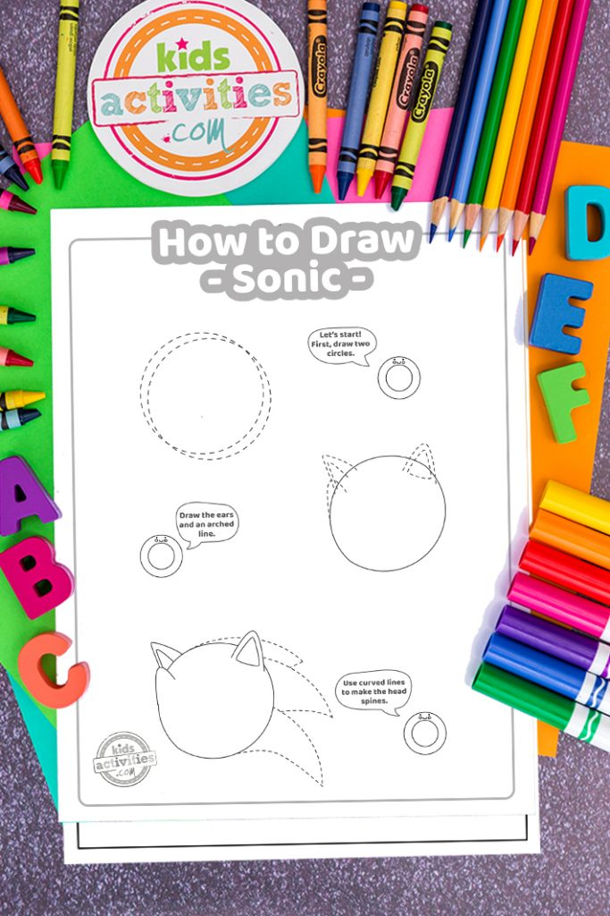 step by step how to draw Sonic