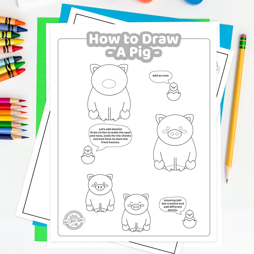 cute pig drawing tutorial
