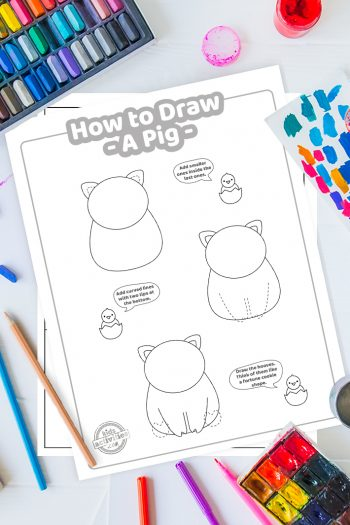 How To Draw a pig coloring page