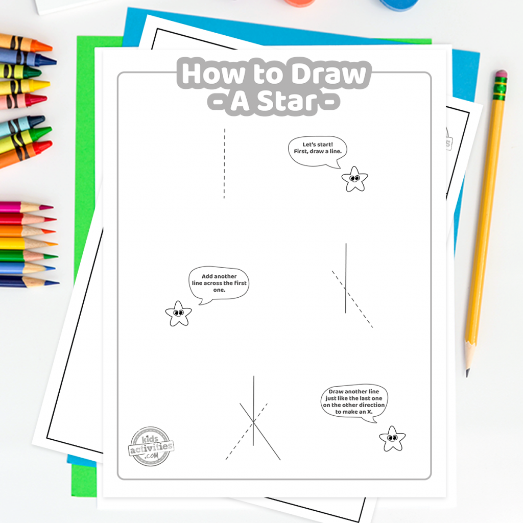 How To Draw a star coloring page Square