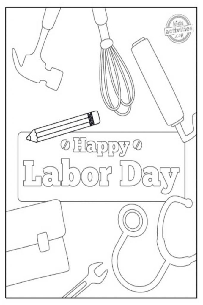 Labor day coloring pages for kis