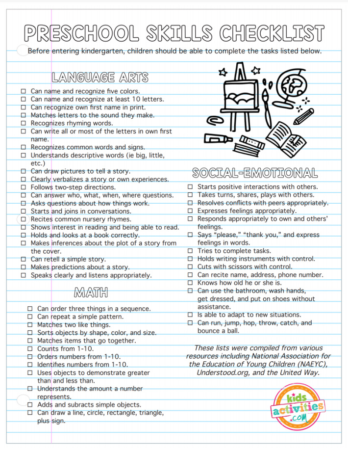 Preschool Skills Checklist - before entering Kindergarten, child should be able to complete the tasks below - a list of many skills with checkboxes in the areas of language arts, math and social-emotional - Kids Activities Blog