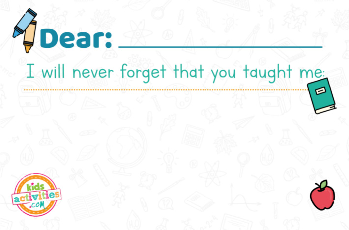 Teacher Appreciation Week - Never Forget What You Taught Me - Kids Activities Blog