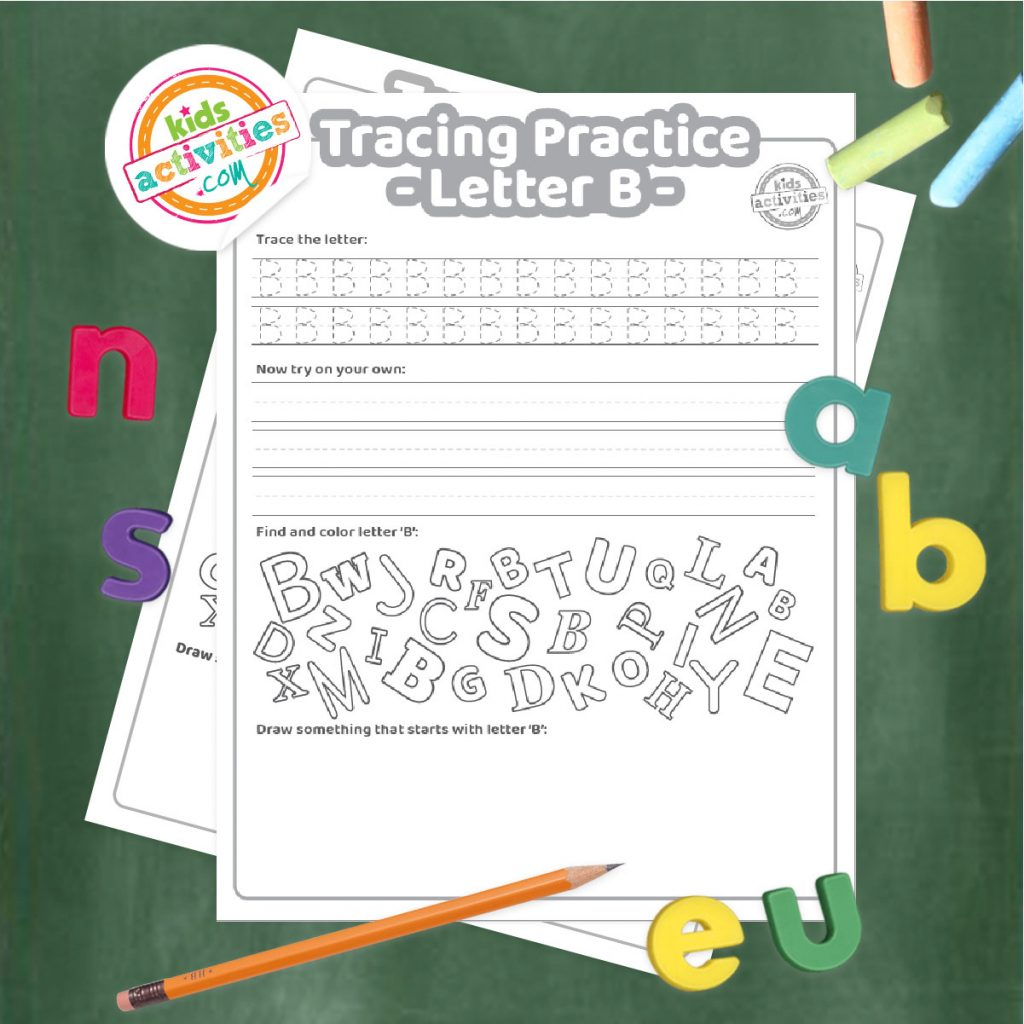 Tracing practice for uppercase and lowercase letter B printable worksheets - printed pdf shown on dark background with alphabet letters and pencil - Kids Activities Blog