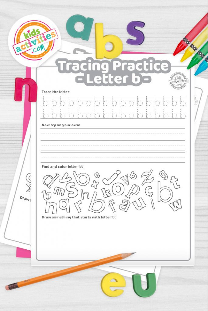 Letter B writing practice sheet pdf shown on decorative background with alphabet letters