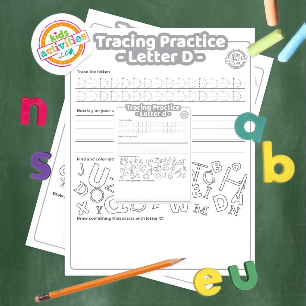 Tracing practice for uppercase and lowercase letter D printable worksheets - printed pdf shown on dark background with alphabet letters and pencil - Kids Activities Blog