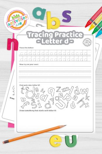 Letter D writing practice sheet pdf shown on decorative background with alphabet letters