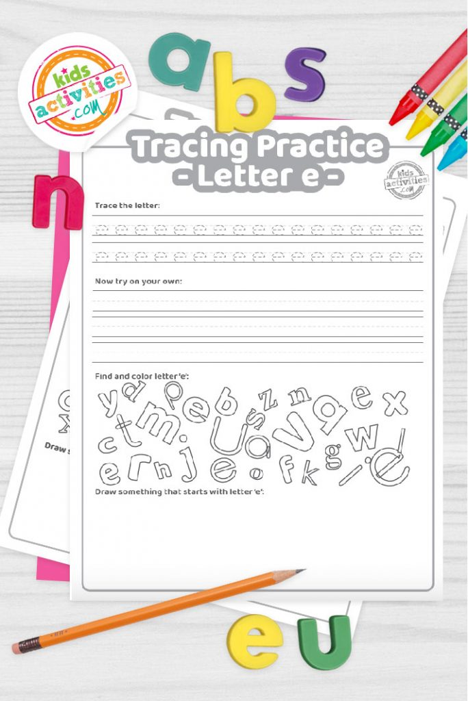 Letter E writing practice sheet pdf shown on decorative background with alphabet letters