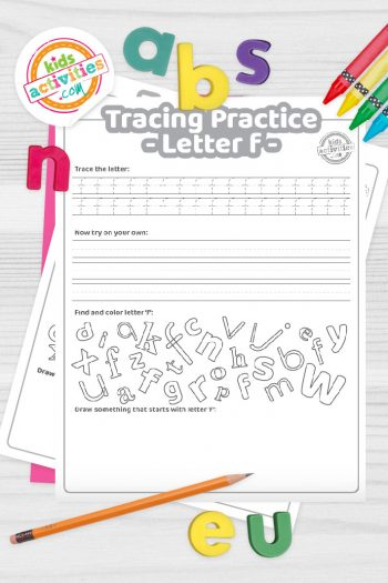 Letter F writing practice sheet pdf shown on decorative background with alphabet letters